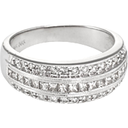 Mixed Cut Diamond Band Ring Estate 14 Karat White Gold Fine Vintage Jewelry Sz 6