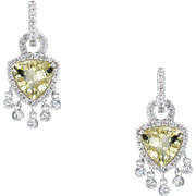 Lemon Citrine Diamond Fringe Drop Earrings Estate 18 Karat White Gold Fine Jewelry