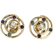 Ruby Diamond Emerald Round Earrings Vintage 14 Karat Yellow Gold Estate Fine Jewelry