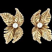 Cultured Pearl Leaf Clip Earrings Vintage 14 Karat Yellow Gold Estate Jewelry