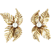 Cultured Pearl Leaf Clip Earrings Vintage 14 Karat Yellow Gold Estate Jewelry