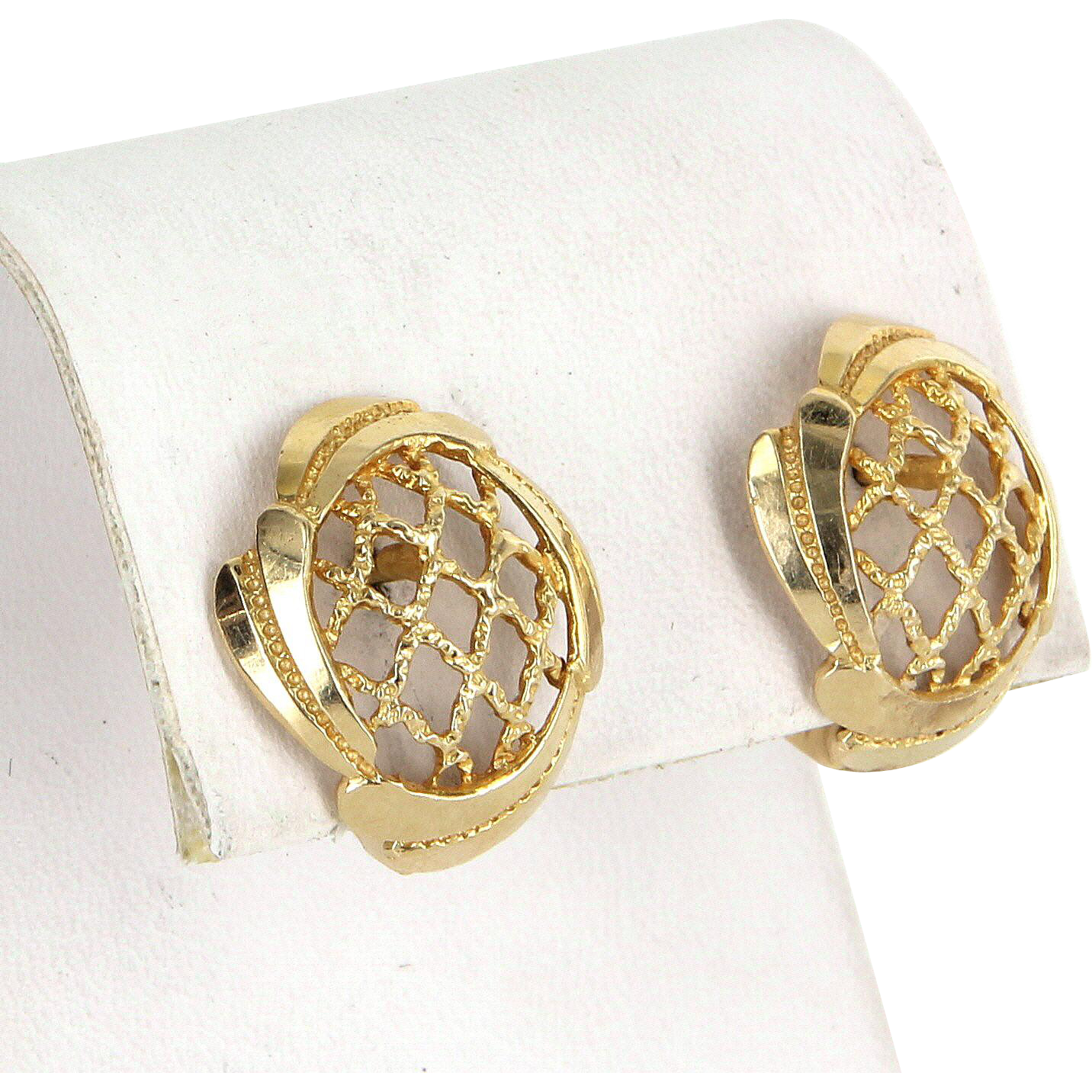 Basket Weave Vintage Earrings 14 Karat Yellow Gold Estate Fine Jewelry Pre Owned