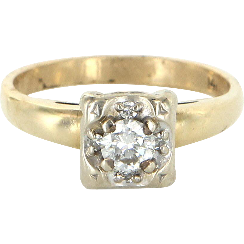 Diamond Engagement Ring Vintage 14 Karat Yellow White Gold Estate Fine Jewelry Bridal