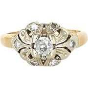 Vintage Art Deco Diamond Two Tone Ring 14k Gold Estate Jewelry Pre Owned Heirloom