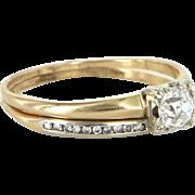Vintage Art Deco Diamond Wedding Ring Set 14 Karat Gold Estate Bridal Jewelry