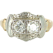 Double Diamond Ring Vintage 14 Karat Two Tone Gold Estate Fine Jewelry Pre Owned