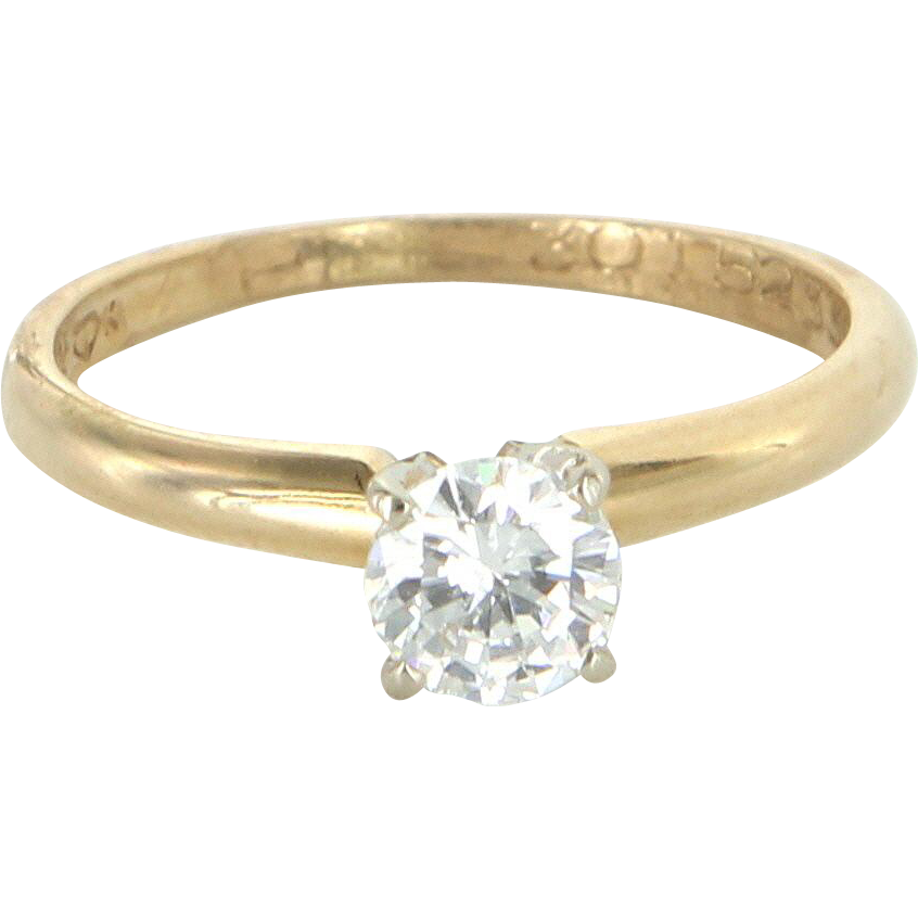 1/2 Carat Diamond Solitaire Vintage Engagement Ring 14 Karat Yellow Gold Estate Pre Owned