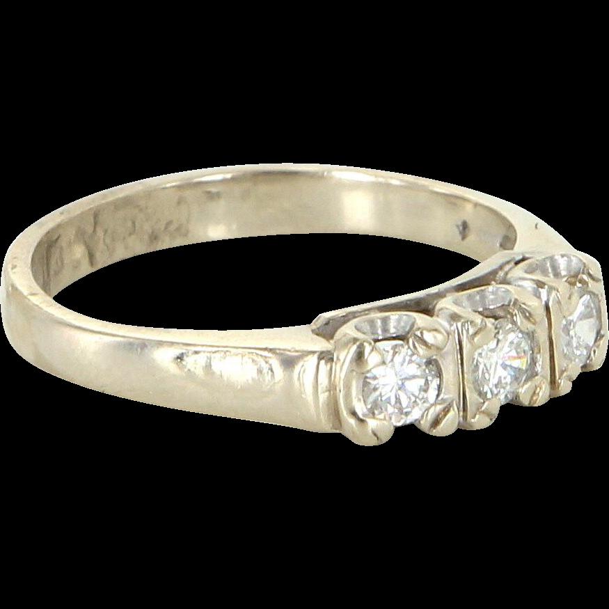 3 Diamond Band Ring Sz 6 Vintage 14 Karat White Gold Estate Fine Jewelry Pre Owned