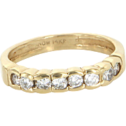 Diamond Band Ring Sz 6 Vintage Bridge 14 Karat Yellow Gold Estate Fine Jewelry