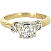 Diamond Engagement Ring Vintage 14 Karat Yellow Gold Estate Fine Bridal Jewelry