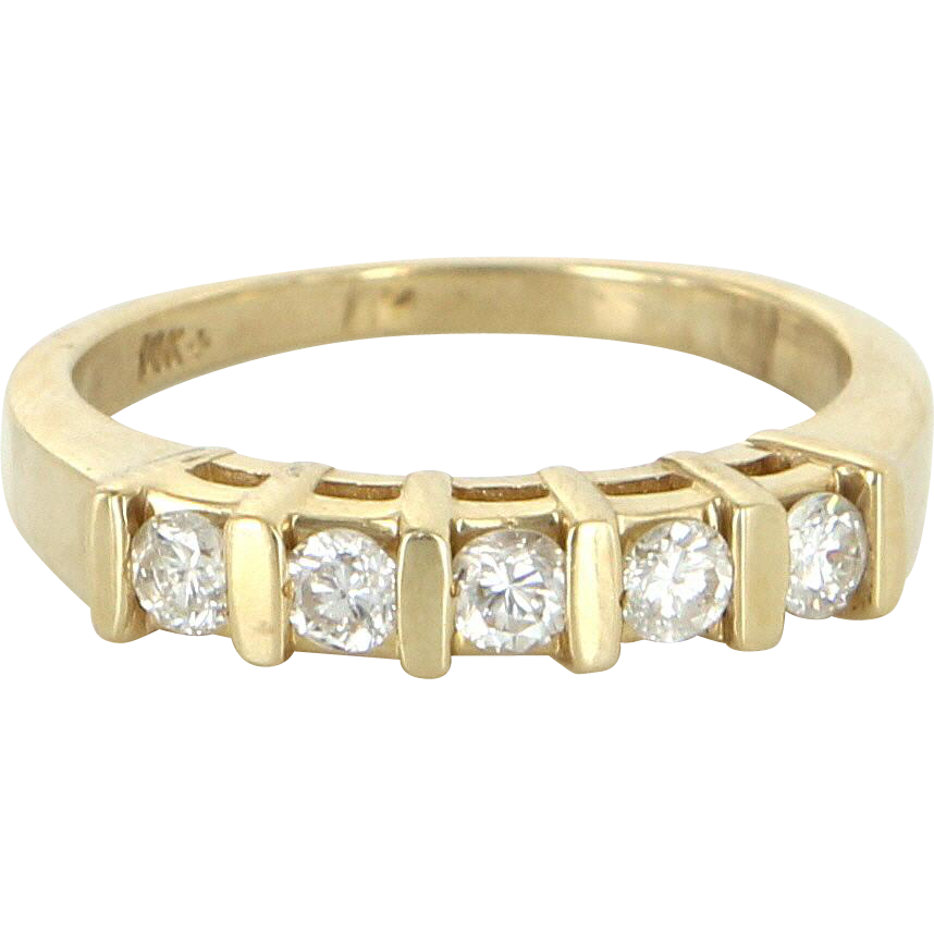 5 Diamond Band Ring Vintage 14 Karat Yellow Gold Estate Fine Jewelry Pre Owned 5.5