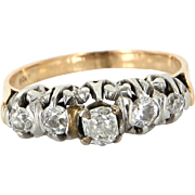 Vintage Art Deco 900 Platinum 18 Karat Gold Cushion Cut Diamond Anniversary Ring Estate Size 7