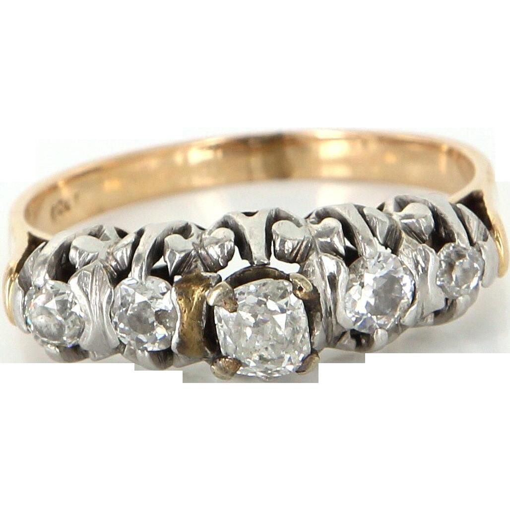 Vintage Art Deco 900 Platinum 18 Karat Gold Cushion Cut Diamond Anniversary Ring Estate Size 7