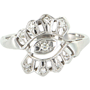 Diamond Cocktail Ring Vintage 14 Karat White Gold Estate Fine Jewelry Heirloom