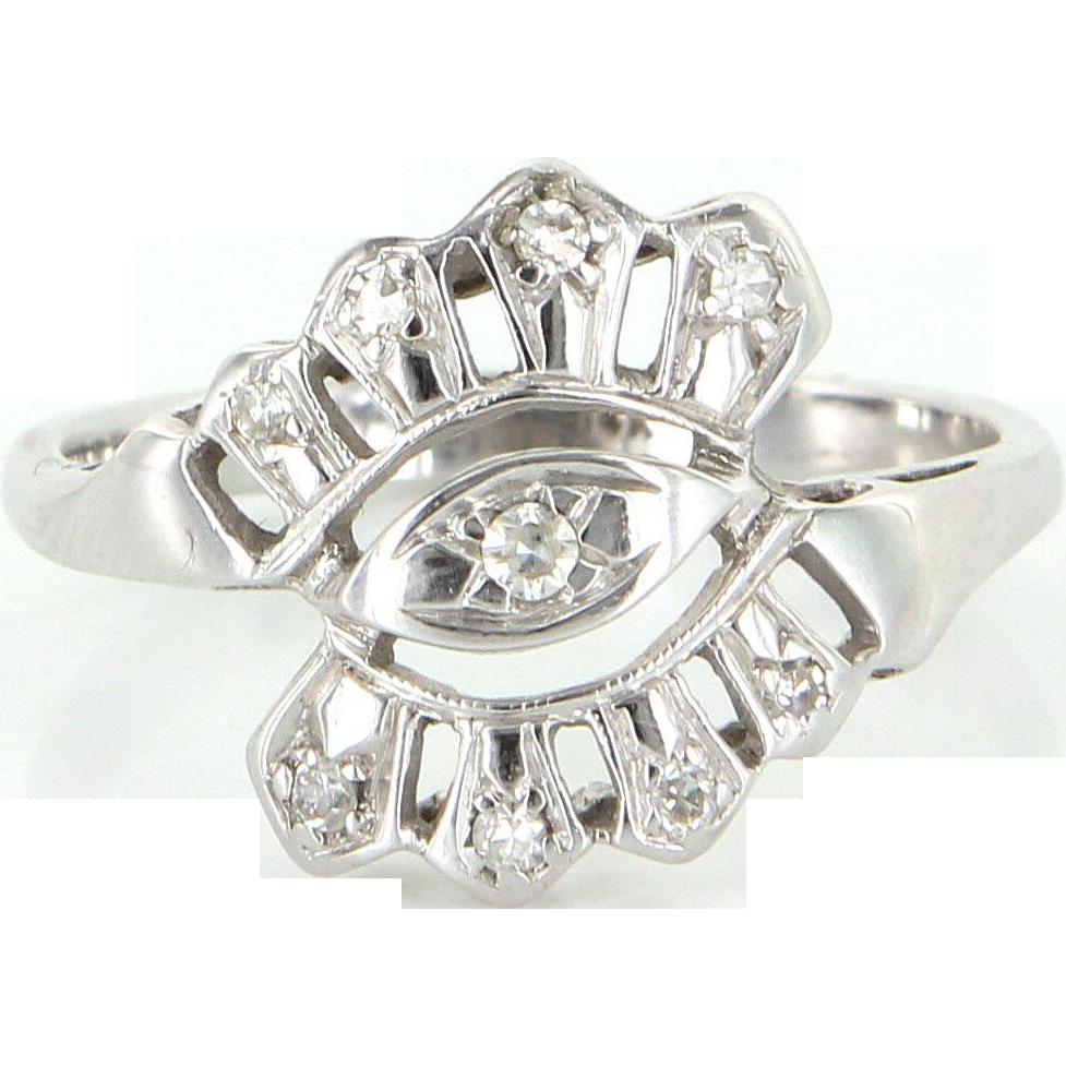 Diamond Cocktail Ring Vintage 14 Karat White Gold Estate Fine Jewelry Heirloom