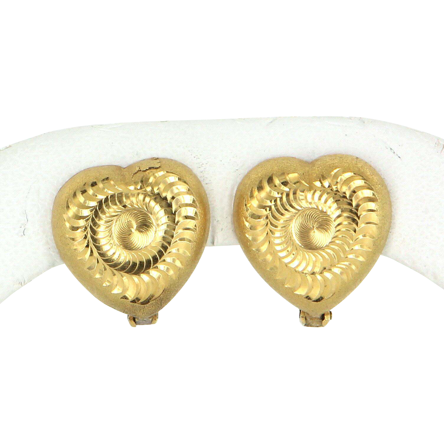 Textured Heart Swirl Earrings Vintage 18 Karat Yellow Gold Estate Fine Jewelry Pre Owned