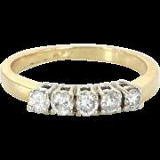 5 Stone Diamond Anniversary Ring Vintage 14 Karat Yellow Gold Sz 7.5 Estate Jewelry