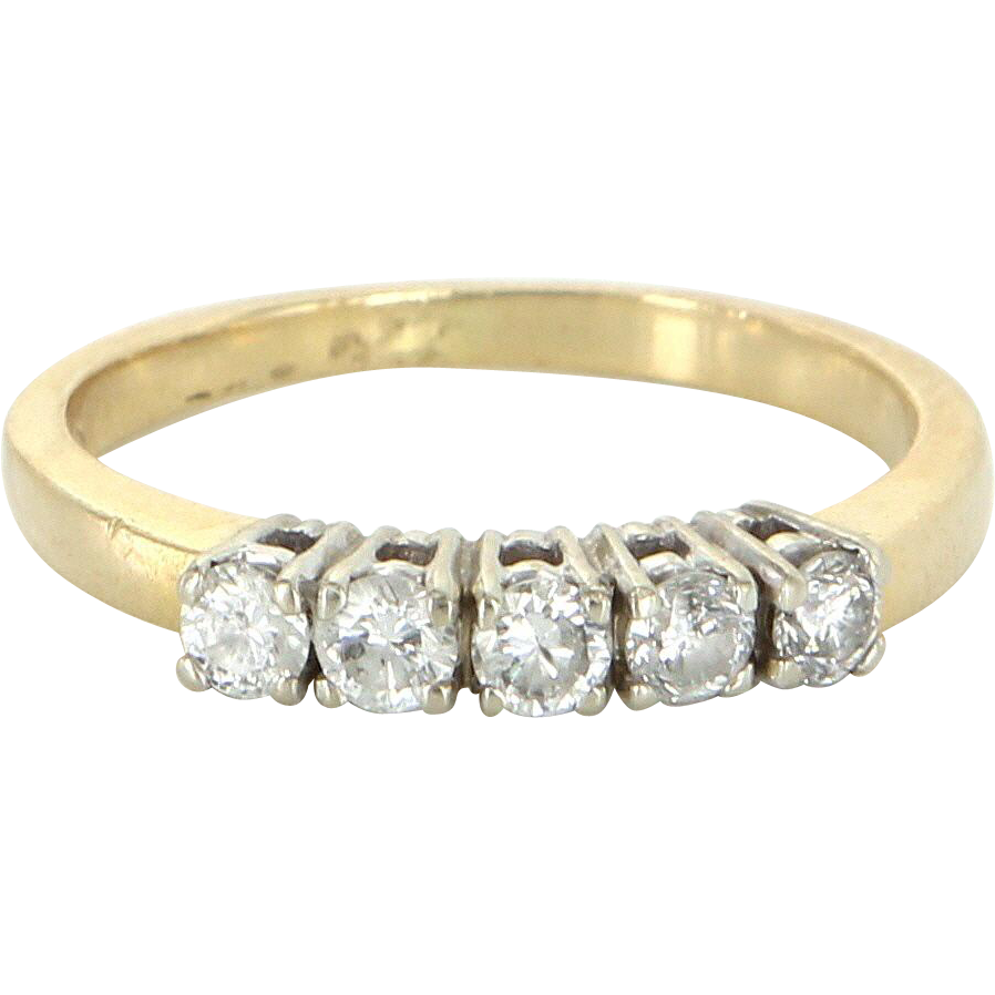 5 Stone Diamond Anniversary Ring Vintage 14 Karat Yellow Gold Sz 7.5 Estate Jewelry