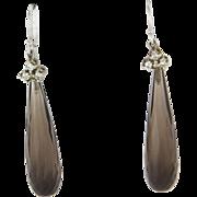Smoky Quartz Diamond Drop Earrings Vintage 14 Karat White Gold Estate Jewelry Fine