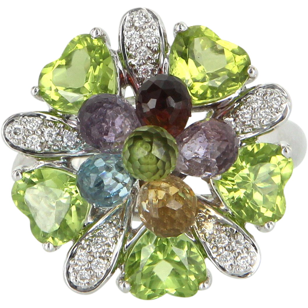 Rainbow Peridot Amethyst Vintage Cluster Cocktail Ring 14 Karat White Gold Estate