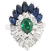 Convertible Emerald Sapphire Diamond Cocktail Ring Vintage 900 Platinum Pendant