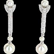 Mikimoto Akoya Pearl Diamond Drop Earrings Estate 18 Karat White Gold Fine Jewelry