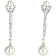 Mikimoto Akoya Pearl Diamond Drop Earrings Estate 18 Karat White Gold Fine Jewelry