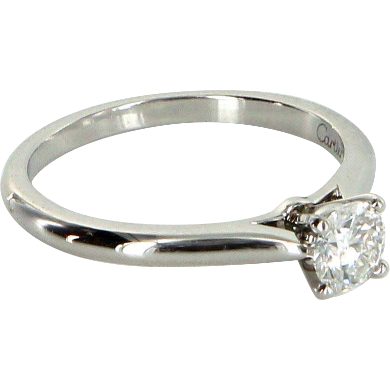 Cartier 0.36ct Diamond Engagement Ring 1895 950 Platinum Estate Signed Jewelry GIA Certificate