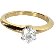 Tiffany & Co 0.51ct Diamond Engagement Ring w/ Cert 18 Karat Gold Pre Owned Jewelry