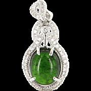 Vintage 14 Karat White Gold Green Tourmaline Diamond Pendant Estate Jewelry Fine