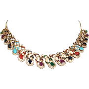 Vintage Multi Gemstone 22 Karat Gold Necklace Turquoise Ruby Coral Vintage Jewelry