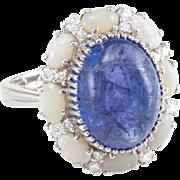 Opal Tanzanite Diamond Cocktail Ring Vintage 18 Karat White Gold Estate Fine Jewelry