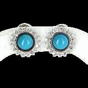 Turquoise Diamond Round Cluster Clip On Earrings Vintage 14 Karat White Gold Estate