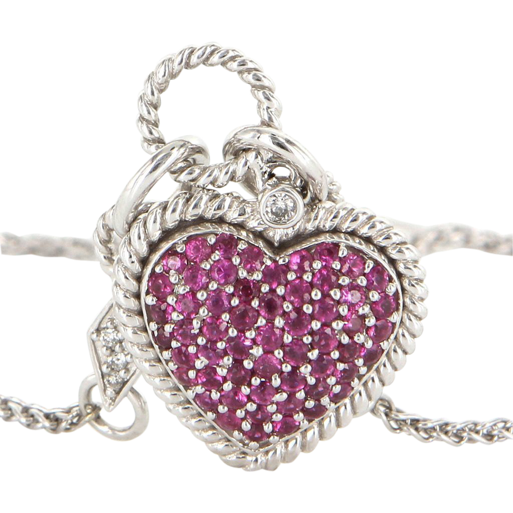 Vintage Heart Diamond Ruby Drop Necklace 14 karat White Gold Pre Owned Jewelry