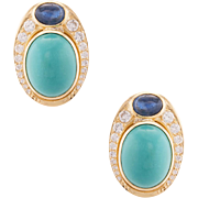 Turquoise Sapphire Diamond Cocktail Earrings Vintage 18 Karat Gold Estate Jewelry