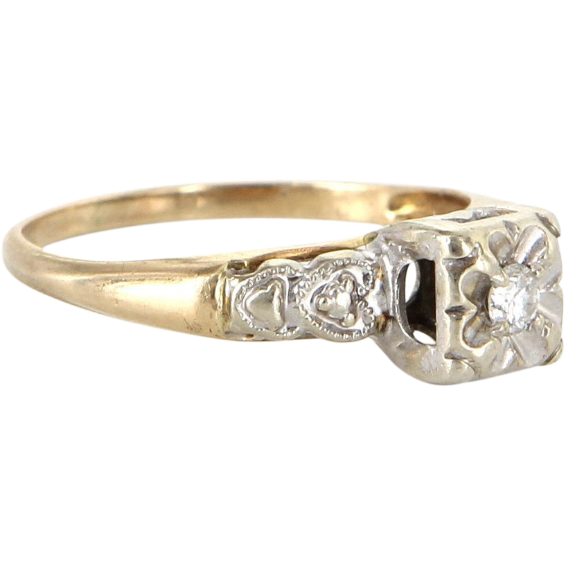 Vintage Heart Diamond 14k Yellow Gold Small Engagement Ring Estate Pre Owned