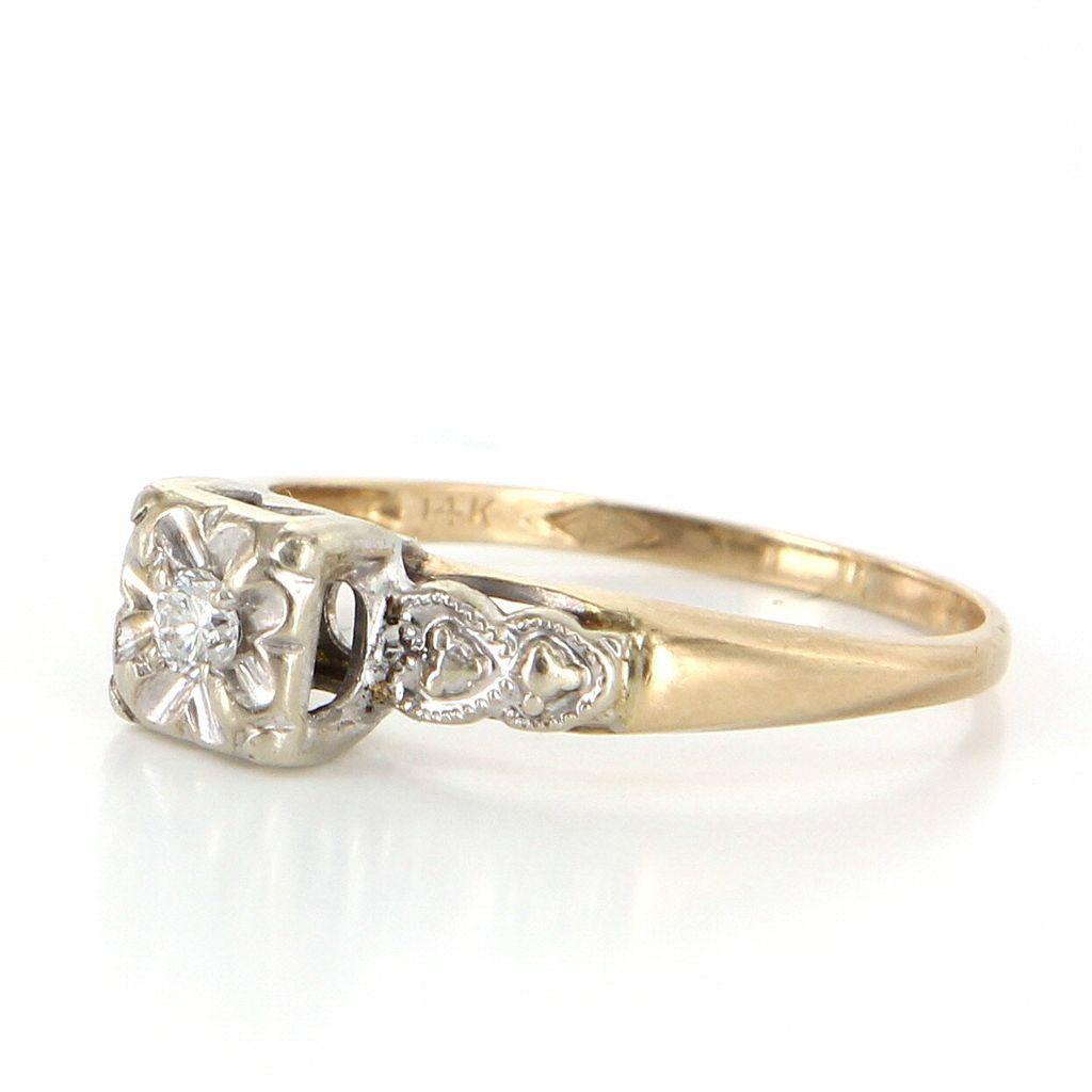 Vintage Heart Diamond 14k Yellow Gold Small Engagement