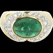 Natural Emerald Diamond East West Cocktail Ring Vintage 18 Karat Gold Estate Jewelry