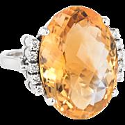 Large Citrine Diamond Cocktail Ring Vintage 18 Karat White Gold Estate Fine Jewelry