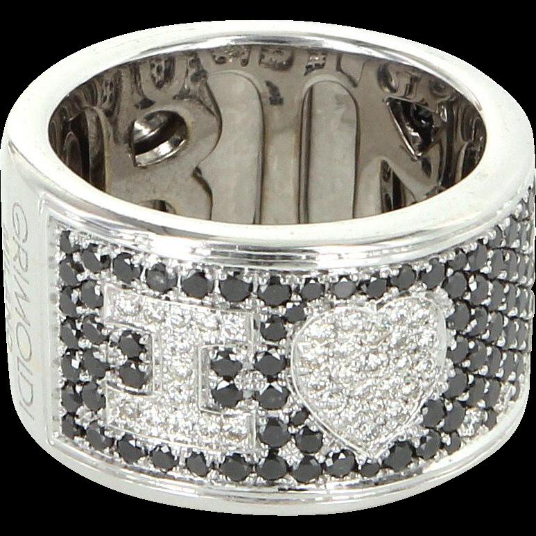 Di Grimoldi I Love You Black Diamond Wide Band Ring 18 Karat Gold 7 1/2 7.5 Vintage