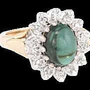 Green Tourmaline Diamond Princess Cocktail Ring Vintage 14 Karat Yellow Gold Estate