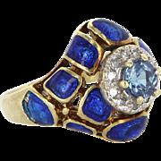 Vintage Enamel Tanzanite Diamond Cocktail Ring 14 Karat Yellow Gold Estate Jewelry