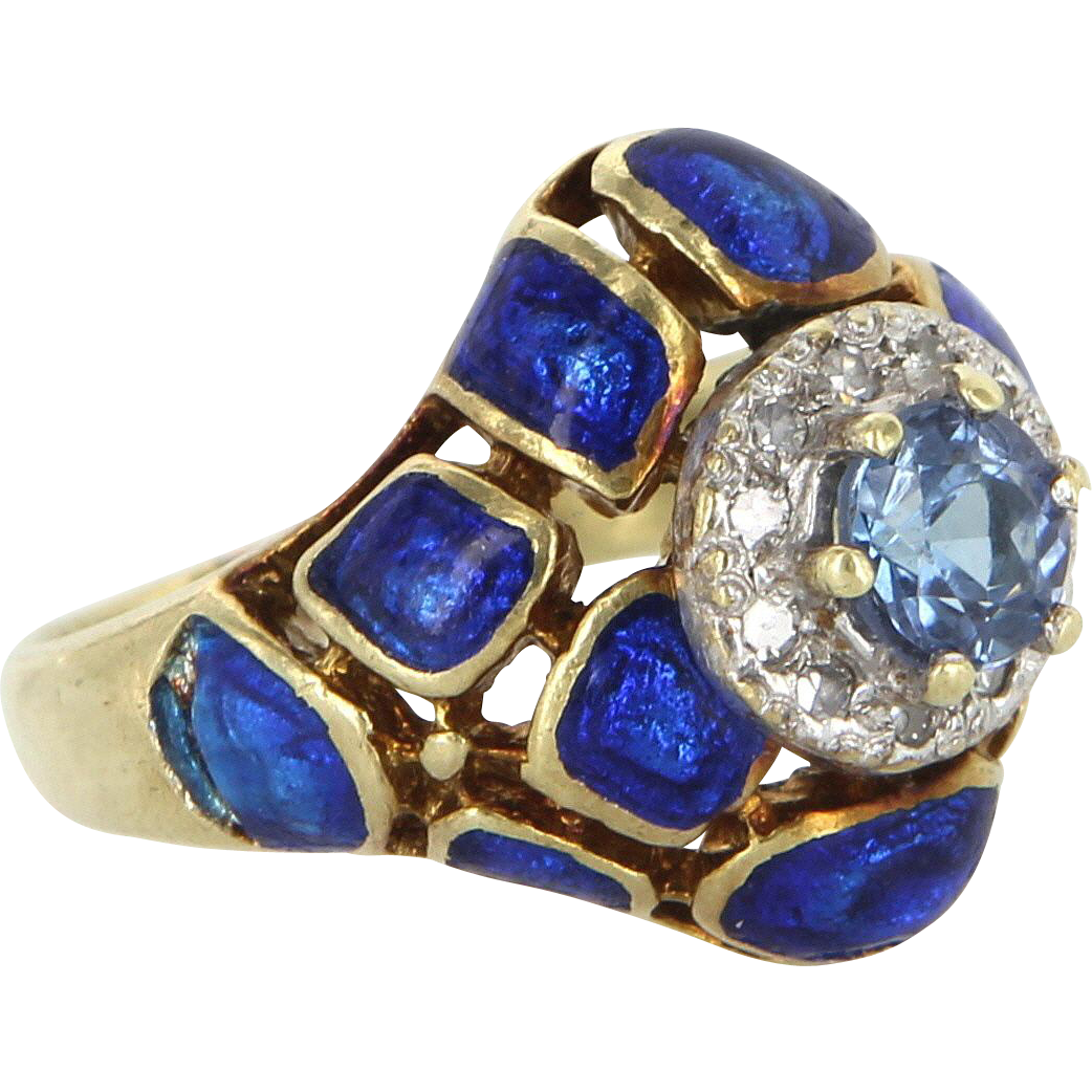 Vintage Enamel Tanzanite Diamond Cocktail Ring 14 Karat Yellow Gold Estate Jewelry