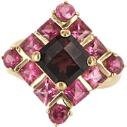 Estate Garnet Pink Topaz Cocktail Ring 10 Karat Yellow Gold Fine Jewelry Pre Owned