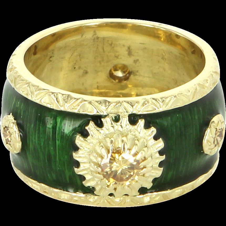 Yellow Diamond Green Enamel 18 Karat Gold Vintage Eternity Wide Band Ring Sz 5.5 Estate