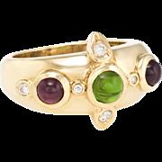 Green Pink Tourmaline Diamond Band Ring Vintage 14 Karat Yellow Gold Estate Jewelry