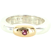 Vintage Ruby Stack Band Ring 14 Karat Gold 925 Sterling Silver Estate Fine Jewelry Sz 7