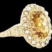 Vintage Citrine Seed Pearl 10 Karat Gold Princess Cocktail Ring Estate Fine Jewelry