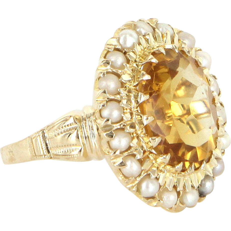 Vintage Citrine Seed Pearl 10 Karat Gold Princess Cocktail Ring Estate Fine Jewelry