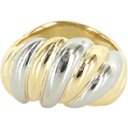 Vintage Fluted Dome 900 Platinum 18 Karat Yellow Gold Two Tone Cocktail Ring Estate 7